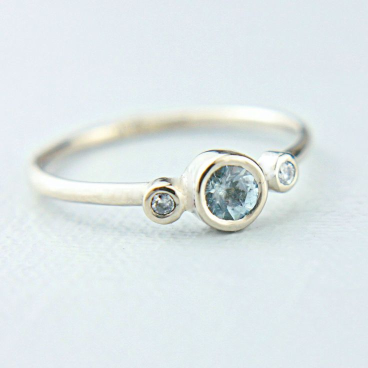 Delicate Ring for March Baby Aquamarine & Diamonds in 14k White Gold