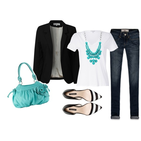 Girl on the Go - Work Oufit ; This is the perfect work outfit ! It's easy enough to be created in less than 5 minutes, but still fashionable enough to wear to work or a business affair ! White v-neck, simple jeans, black blazer, black and white pointed flat, and a pop of color blue bag and necklace !  #outfitideas #workoutfits #fashiononthego #styleinspiration #popofcolor #casualoutfits