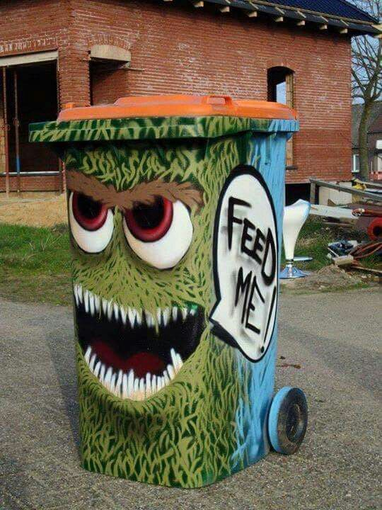 trash can art.