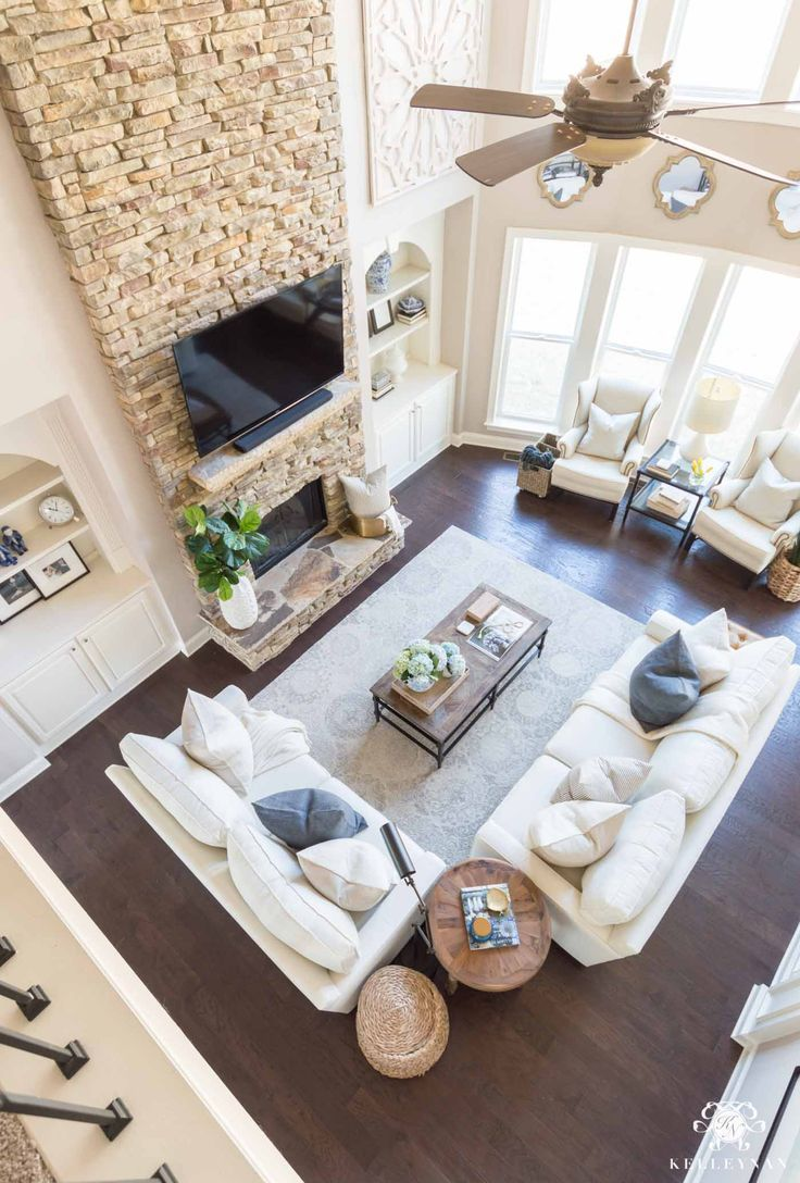 Two Story Living Room Decor And Furniture Configuration Ideas Loving This Neutral Living Roo Large Living Room Layout Farm House Living Room Livingroom Layout