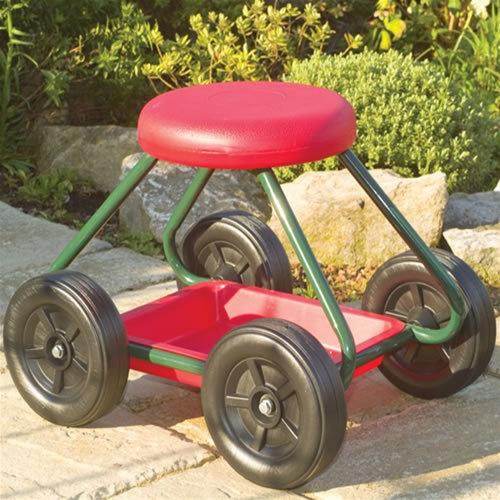 Garden Stool On Wheels   Wheeled Garden Seat With Tool Tray