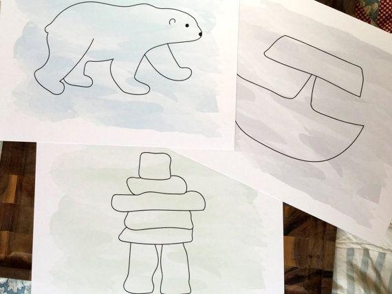 Inuit Art Print Set 3: Polar Bear Inukshuk Ulu by HiLoveGreetings