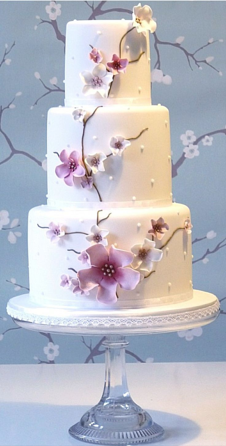 Cherry blossom wedding cake... Personalized Cake serving sets... | http://thevineyard.carlsoncraft.com -For more gerat wedding inspiration, tools and tips visit us at  http://www.brides-book.com