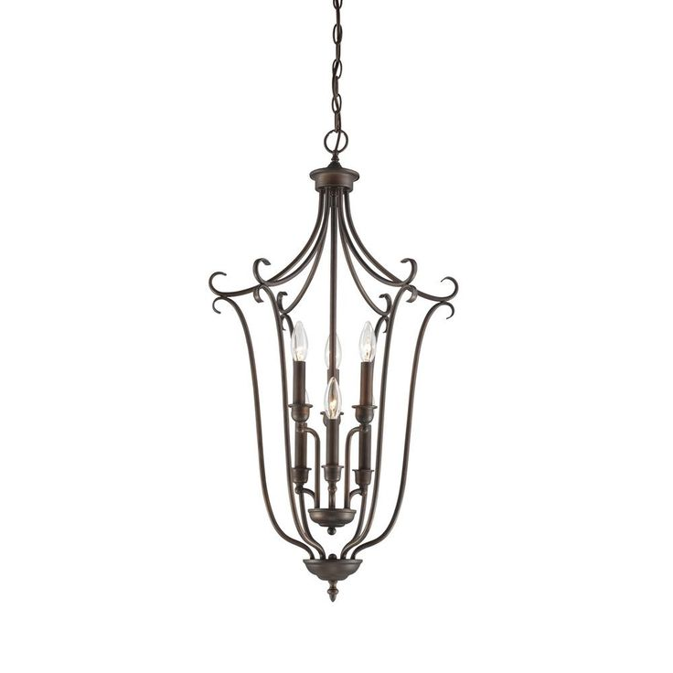 millennium lighting 6light hallfoyer lantern in rubbed bronze and dark brushed bronze