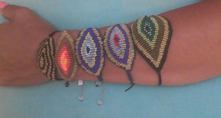Huge evil eye macrame bracelets