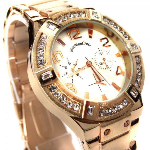 Reloj De Pulsera Lucerna Acero Inoxidable Color Oro Rosa Solo 24