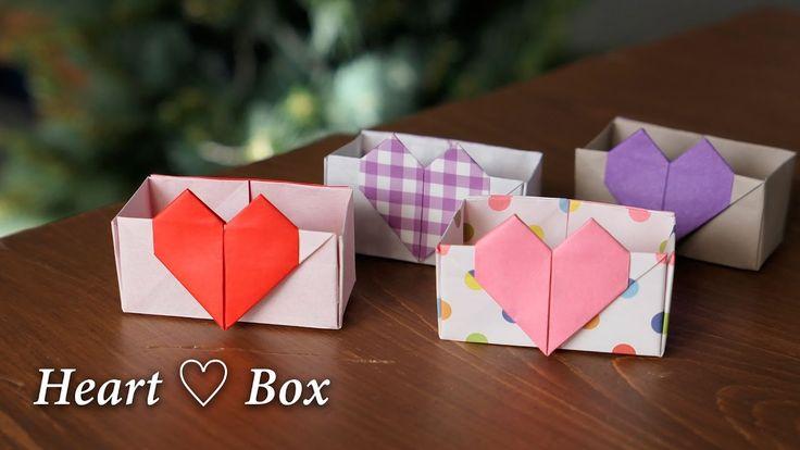 【折り紙1枚】ハートの箱ができた♡♡バレンタインにも♪HeartBox【Origami Tutorial】