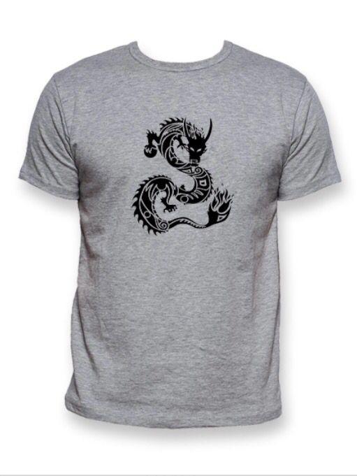 T-shirt Dragon men grey - Star to China  #tribal #dragon #pearl #tshirt #fashion #grey #men #china #design #global #world #star #startochina