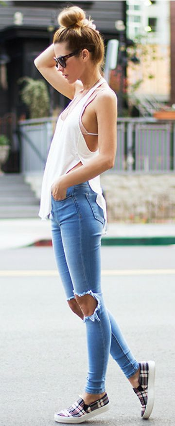 Summer 2015 Classy Street Style Outfit Ripped Jeans Bikini and Sneakers Look.