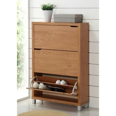 Baxton Studio Simms Wood Modern Shoe Cabinet in Maple-FP-3OUSH-MAPLE - The Home Depot