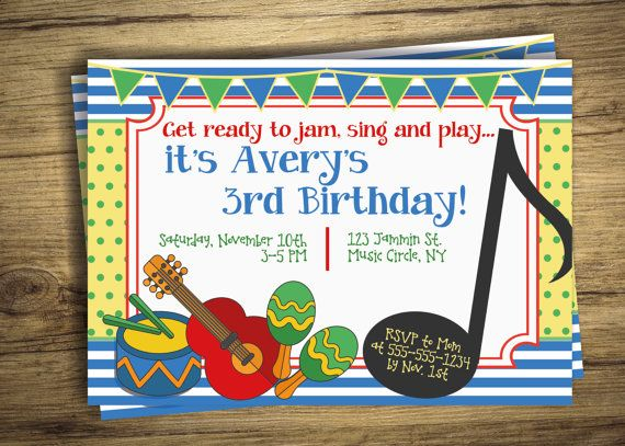 Music Birthday Party Invitation Drum by GraphicallyEverAfter