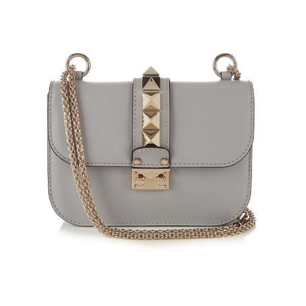 Valentino Lock small leather shoulder bag (139,500 INR) ❤ liked on Polyvore featuring bags, handbags, shoulder bags, gray leather handbags, grey purse, grey shoulder bag, leather shoulder handbags and blue leather handbags