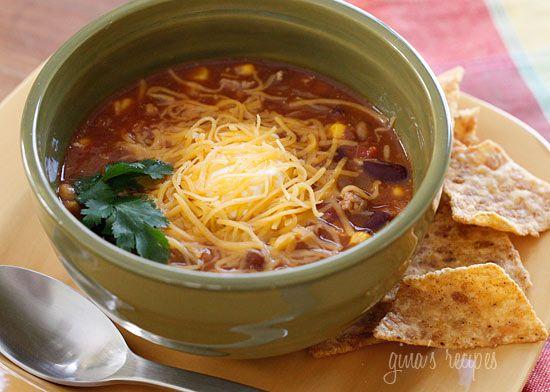 Turkey Chili Taco Soup | Skinnytaste: Soups, Recipe, Tacos, Chilis, Food, Taco Soup, Turkey Chili