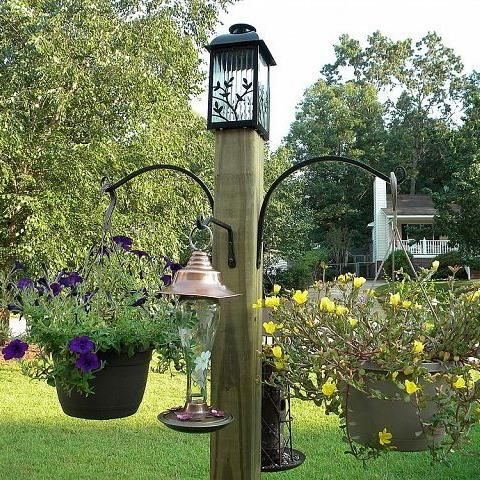 DIY Freestanding Bird Feeder and Flower Post