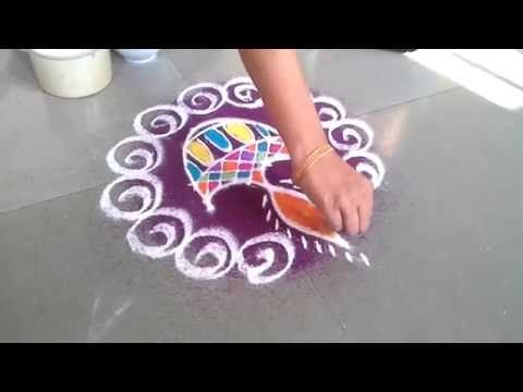 How to make diya rangoli design for diwali youtube for Diya decoration youtube