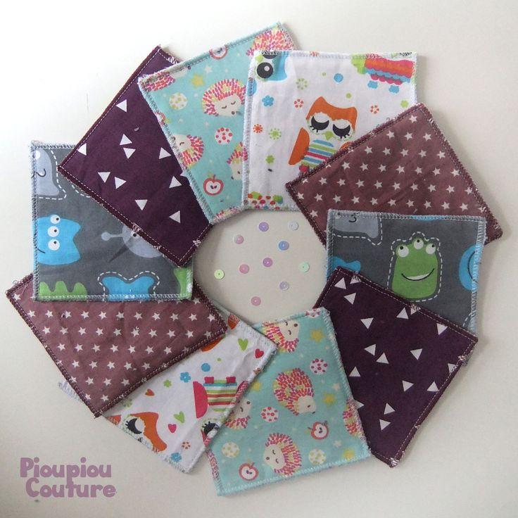 Lot de 10 lingettes lavables coton et pochette de transport personnalisée : Puériculture par pioupiou-couture
