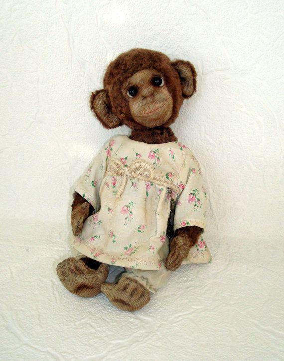 Artist teddy monkey, OOAK, Monkey symbol 2016 #monkey #handmade #giftidea