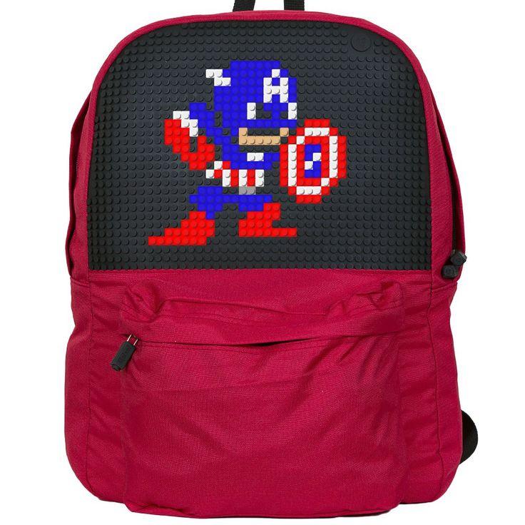 UPIXEL  Plecak miejski czerwony  wymiary plecaka: 36 x 22 x 43 cmrozmiar pikseli: S ilość pikseli na panelu: 1290 (43x30) w zestawie 240 pikseli S, wielokolorowych