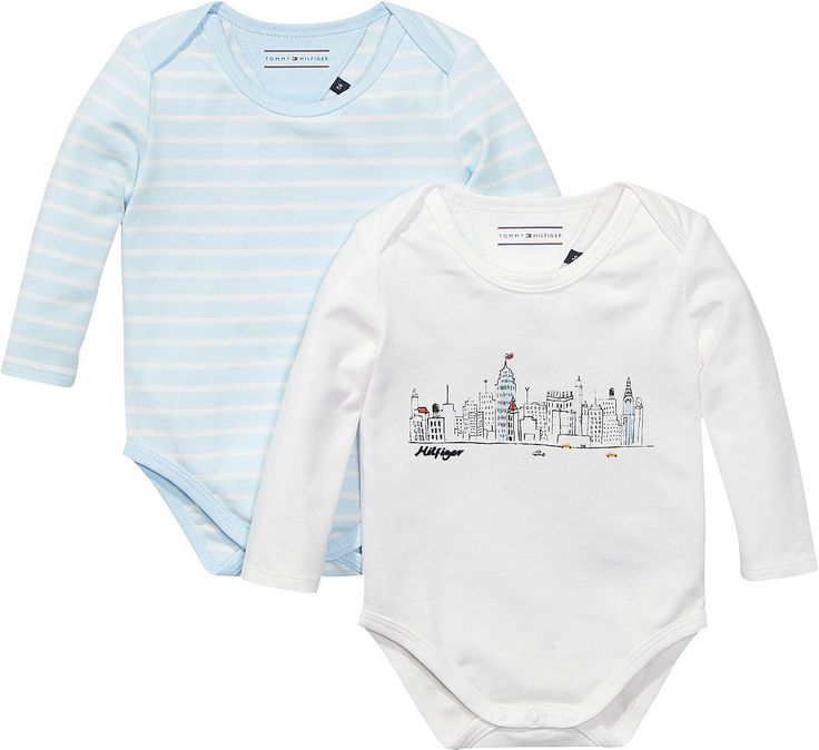 2er Pack Langarmbodie: gestreift und geprintet, mit Rundhalsausschnitt und aus hochwertiger Materialqualität. Ein schönes Geschenk für Neugeborene.93% Baumwolle, 7% Elastan...
