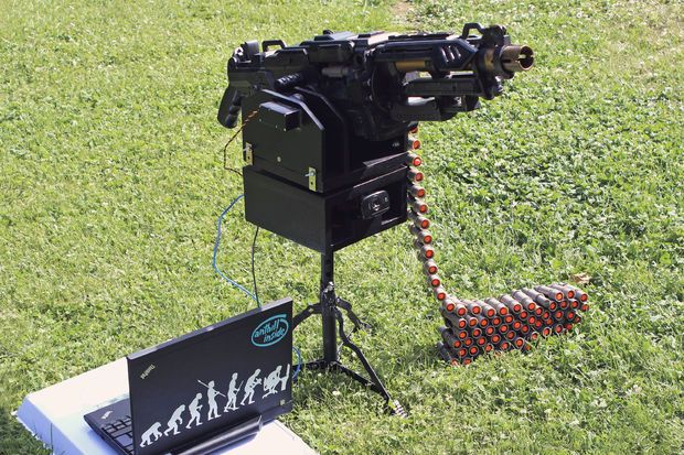 Nerf automatic sentry gun with IFF recognition.