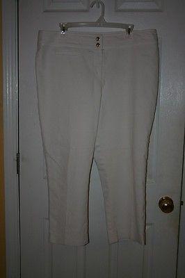 Kasper Sz 16 White Flat Front Cropped Capri Pants