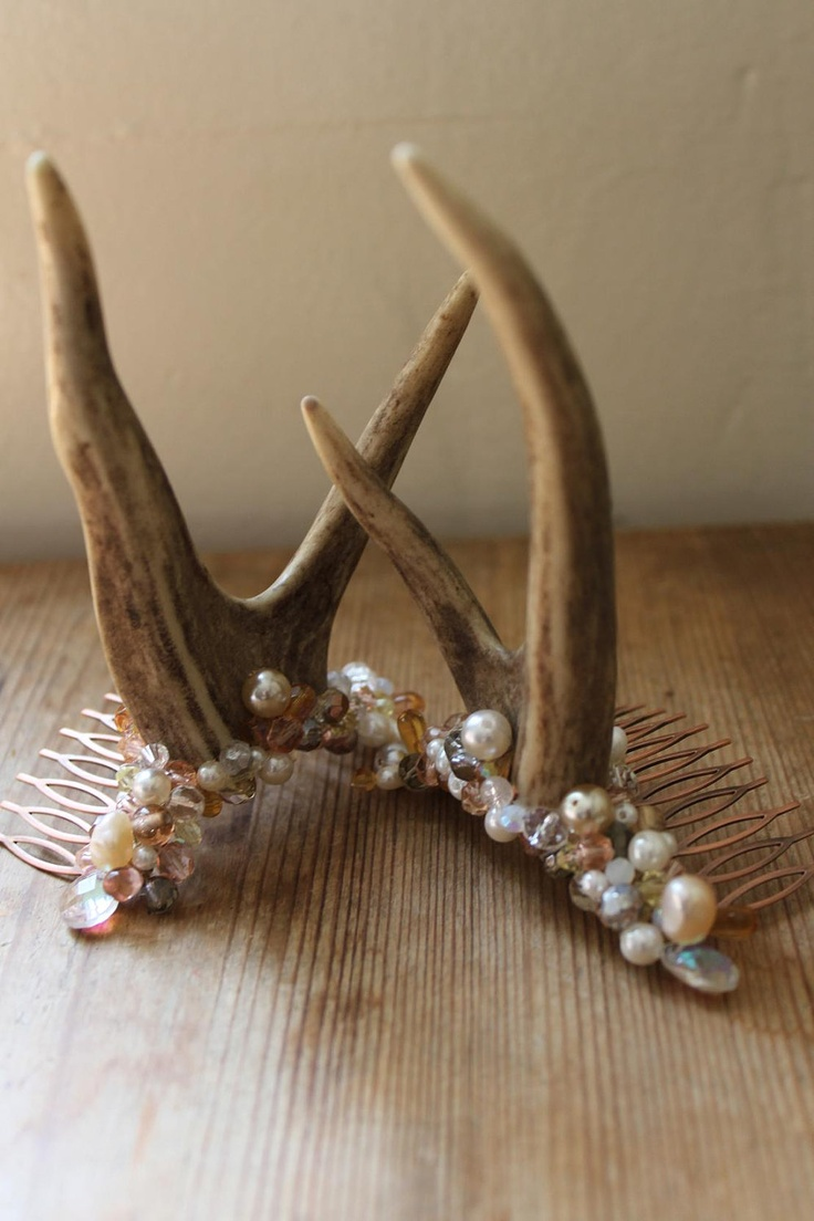 Woodland nymph head adornment - Champagne and Pearl.