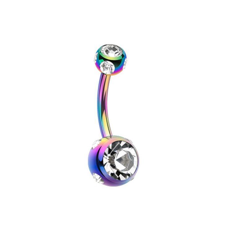 Colorline Aurora Gem Ball Steel Belly Button Ring