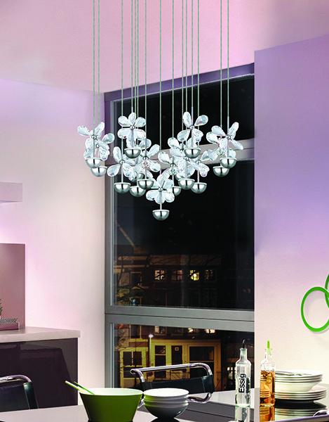 #Luminaire #suspendu au DELde la collection #PIANOPOLI #EGLO. Fini cristal et chrome, graduable, hauteur ajustable. Diamètre 19,625″ – Hauteur Totale 94,5″ -  #DEL intégré: 15 x 2.1W