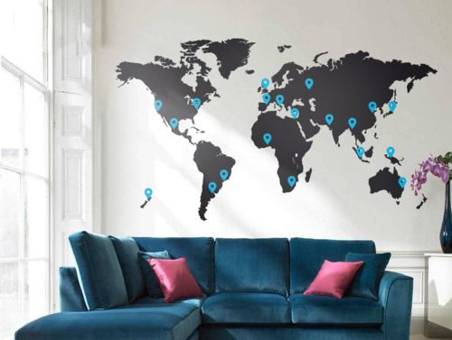 47 best wall map wallpaper images on pinterest world maps brain food the world map vinyl wall sticker is perfect for the well travelled individual the design comes complete with various sized positionable dots gumiabroncs Images