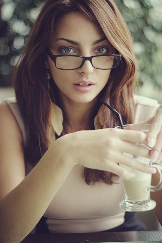 Girl With Glasses Long Brown/Red Hair