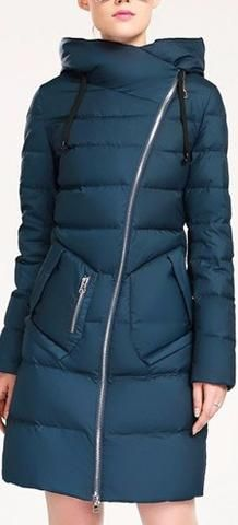 Asymmetric Zip Puffer Down Coat in Blue