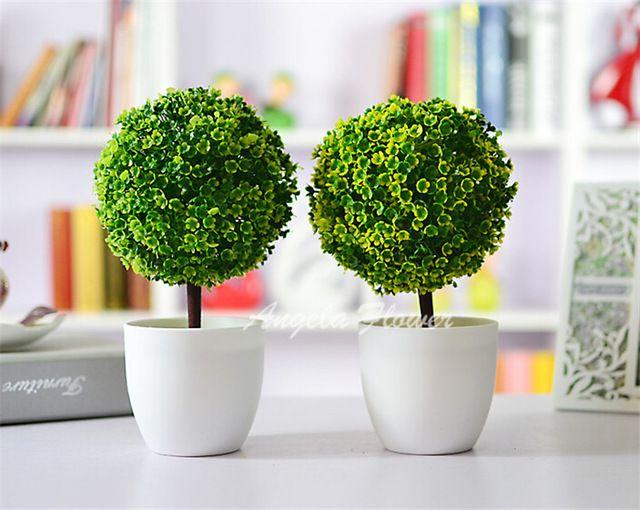 Yapay bitkiler top bonsai yıkar ev dekorasyon için dekoratif yeşil bitkiler 4 renk 1 set (bitkiler + vazo)