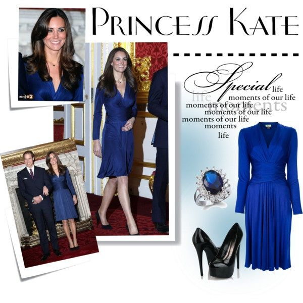Синее платье Кейт Миддлтон, фото.