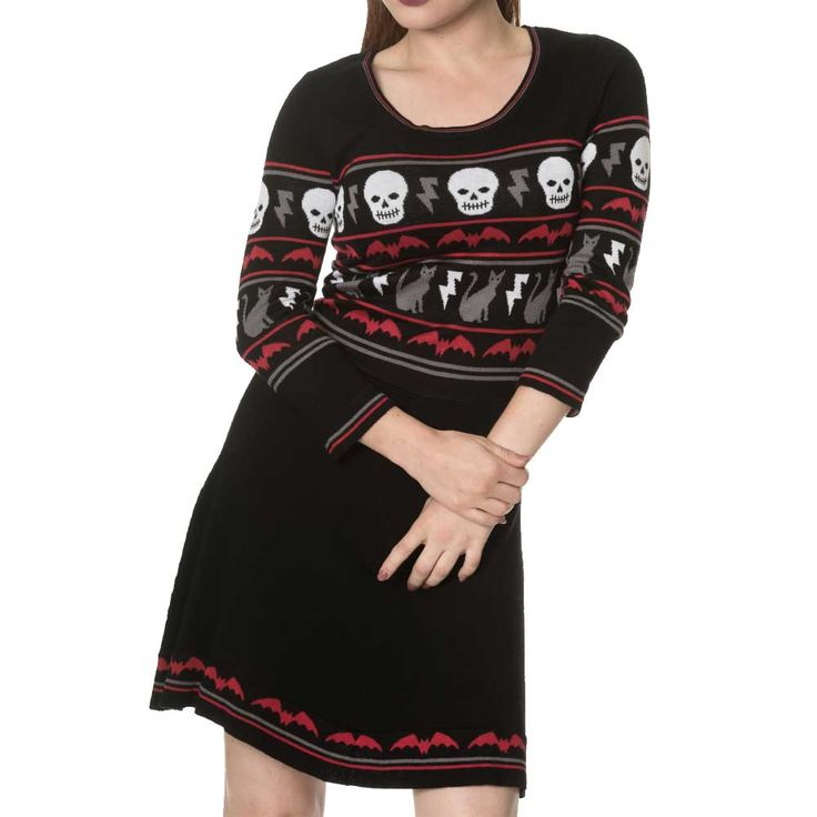 All Hallows gebreide jurk met lange mouwen en Halloween print zwart - Emo Gothic - S - Banned