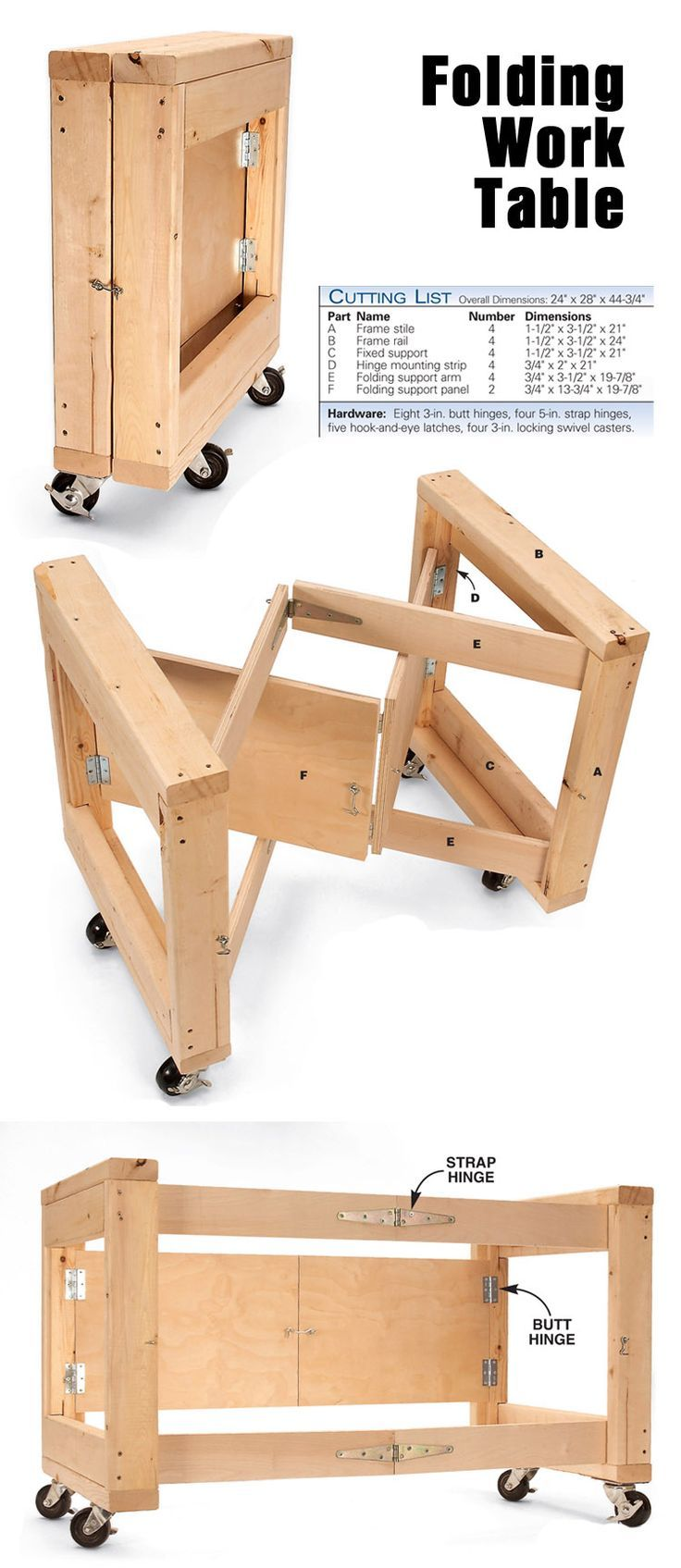 Space Saving Folding Work Table http://www.popularwoodworking.com/projects/aw-extra-4512-folding-table-base:                                                                                                                                                                                 Más
