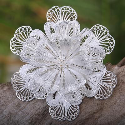 Sterling silver brooch pin, 'Star Bloom' - Floral Sterling Silver Cuff Bracelet