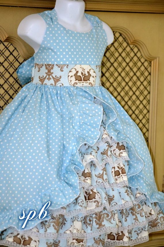 PreOrder SALE Blue Bunny Damask princess dress by SweetPeaBlossoms, $58.00