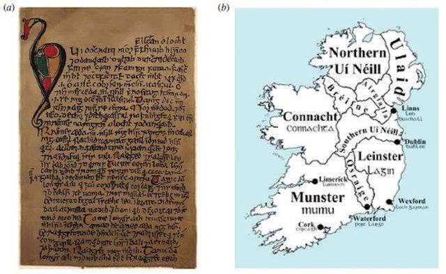 Map Of Ireland 900 Ad.An Image A Of A 19th Century Facsimile Of The First Page Of The