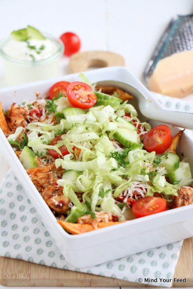 Kip shoarma schotel met zoete aardappel - Mind Your Feed #chicken #shoarma #sweetpotato