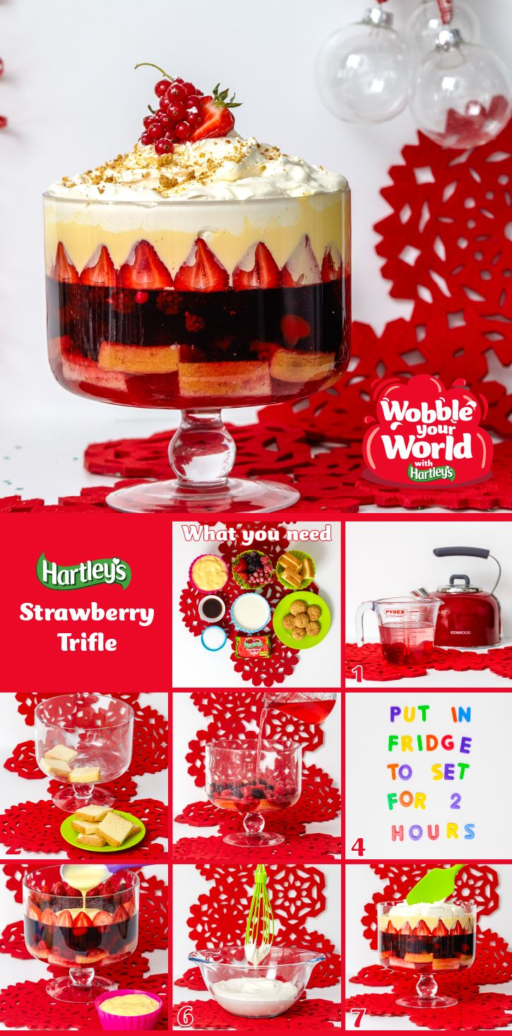 Strawberry Trifle: The Hartley's Jelly twist on the classic trifle recipe will certainly light up your taste buds! What you'll need: 1 x 135g pack Hartley's Strawberry Jelly Cubes, 500g frozen bag mixed summer fruits, 200g madeira cake sliced into ½ slices, 1kg ready-to-serve custard, 500g whipping cream, 50g caster sugar, 2 tsp vanilla essence, 2 amaretti biscuits (crushed) and a large serving dish. Click on the image to find out more!