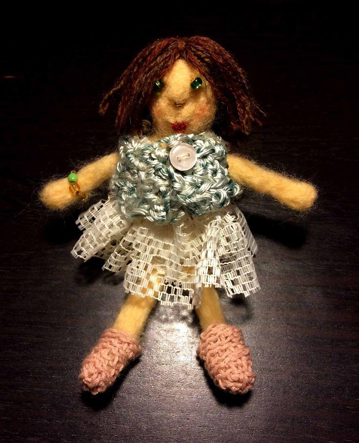 Кукла валяная, сухое валяние, шерсть, ручная  работа, вязание крючком