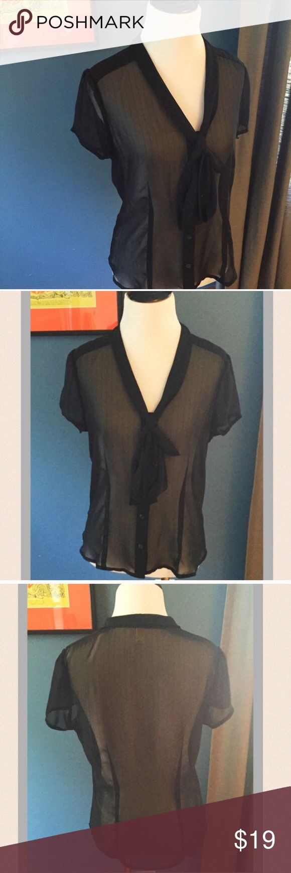 Selling this Old Navy Perfect Fit Pinstriped Sheer Tie Neck Top on Poshmark! My username is: davias_closet. #shopmycloset #poshmark #fashion #shopping #style #forsale #Old Navy #Tops