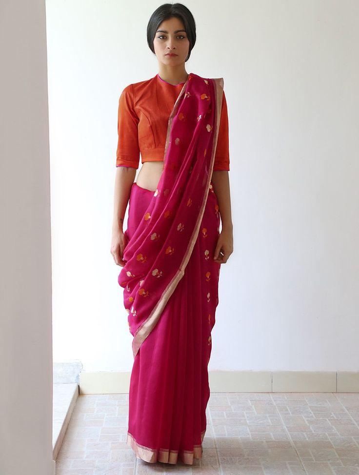 Buy Deep Pink Nanki Chanderi & Zari Saree by Raw Mango Online at Jaypore.com