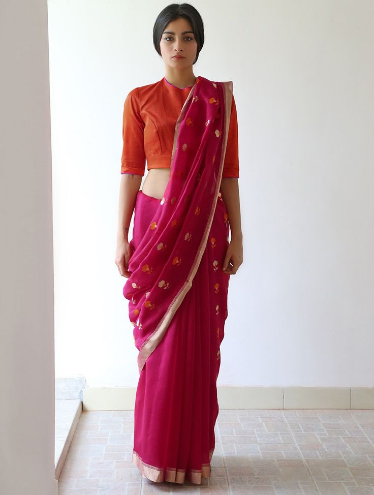 Buy Deep Pink Nanki Chanderi & Zari Saree by Raw Mango Online at Jaypore.com