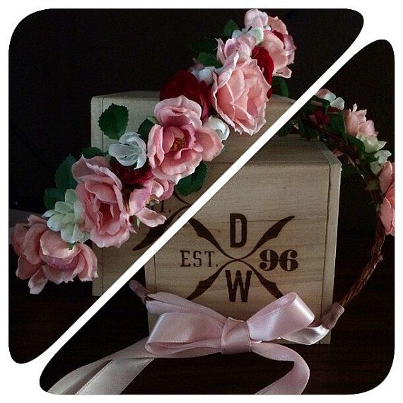 The sweet pea floral crown featuring pink burgundy and white flowers and a light pink tie back bow. by SweetLittleThingsByJ on Etsy