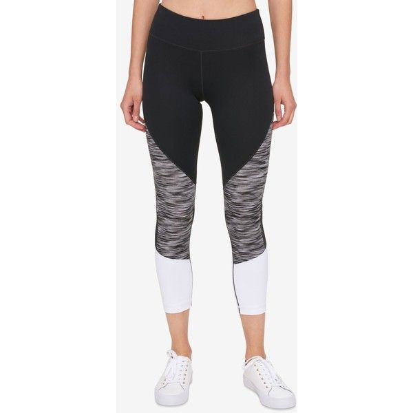 Tommy Hilfiger Sport Colorblocked Cropped Leggings ($30) ❤ liked on Polyvore featuring activewear, activewear pants, athletic sportswear, tommy hilfiger and sports activewear