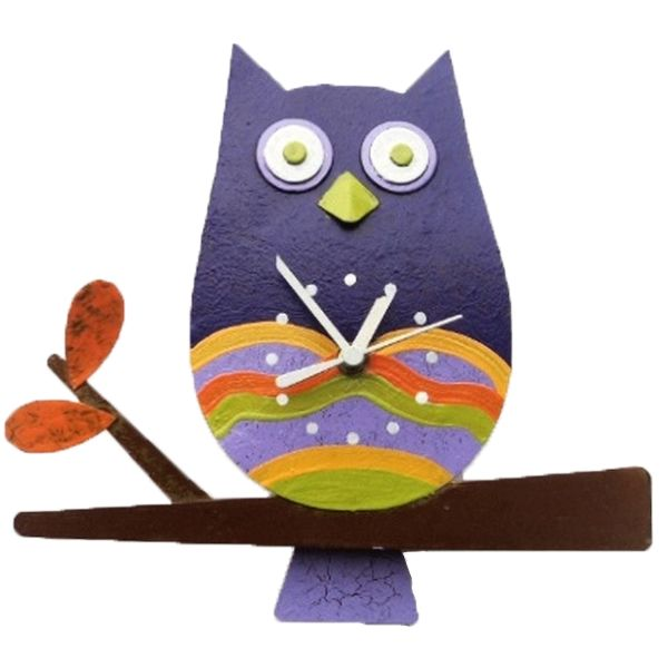 Oxidos Owl Wall Clock - Violet