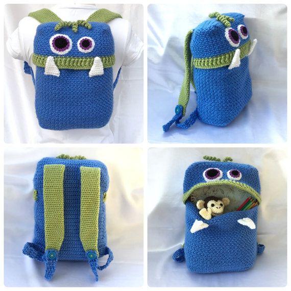 Knapsack Monsters  Backpack  Crochet PDF by HookedoPatterns