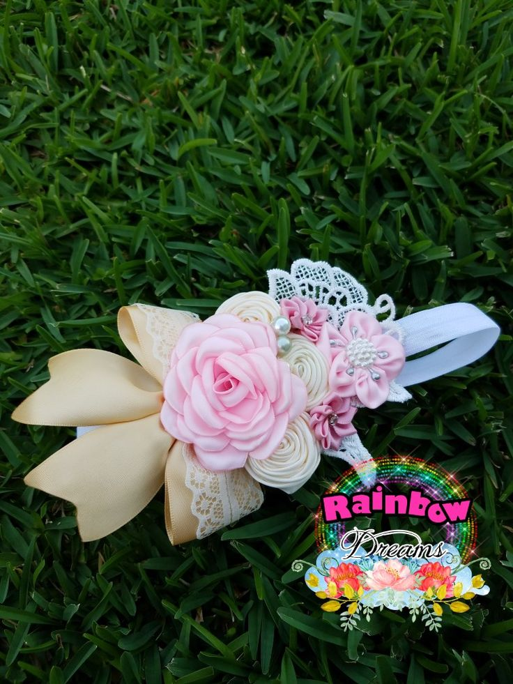 Pink rose, light gold and beige headband vintage style.
