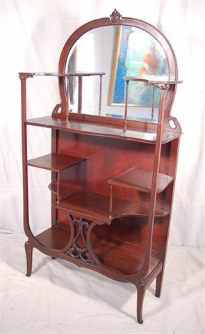 Art Nouveau Curio Stand Etagere $495 - Niles http://furnishly.com/catalog/product/view/id/2031/s/art-nouveau-curio-stand-etagere/